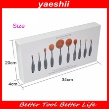 YAESHII Wholesale Custom Logo 10pcs ToothBrush Shape Makeup <strong>Brush</strong> Oval Makeup <strong>Brush</strong>