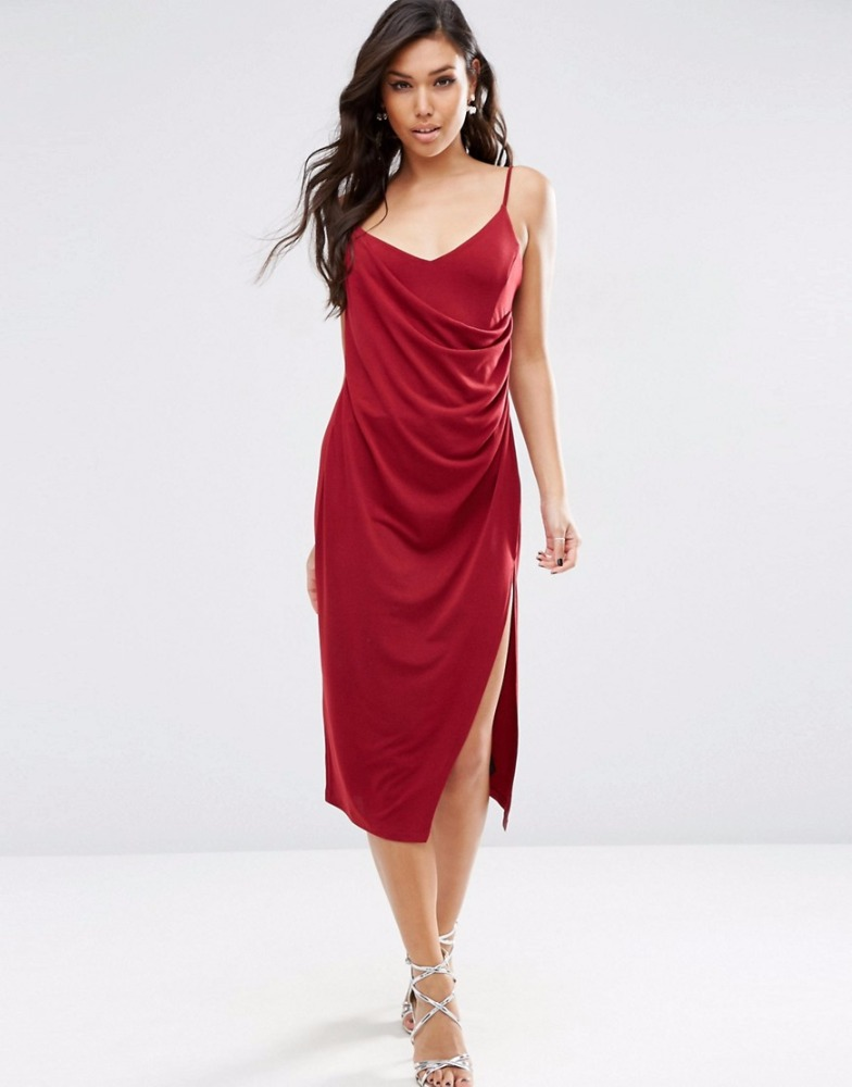 Hot Red Sexy Midi Slip Women Dress Beautiful Front Split V Neck Slim Fit Ladies Dress