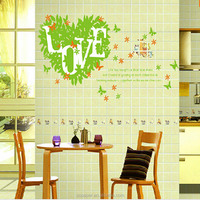 Large Wall Decal Green love Trees Butterfly leaf heart Room Bedroom Decoration DIY Home Decor Wall Sticker 60*90cm wallpaper