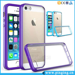 Candy Color Tpu Bumper Hard Crystal Clear Acrylic Mobile Phone Cover For Iphone Se, For Iphone5 Se Clear Case