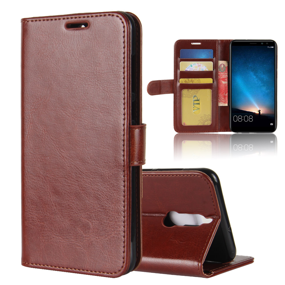 R64 PU Stand Card Holder Wallet Flip Leather Case For Huawei mate 10 lite /Honor 9i /Nova 2i /maimang 6