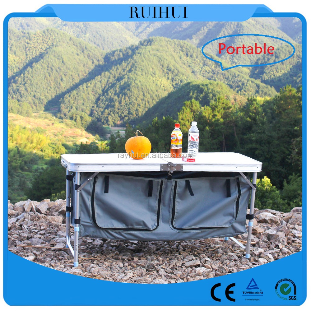 portable aluminum Camping cabinet with table top/camping cupboard