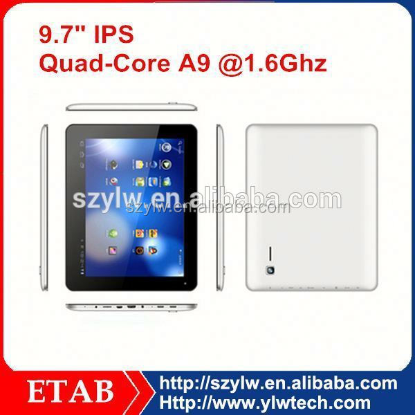 9.7 Inch RK3188 QUAD CORE multi touch screen tablet pc android 2.2