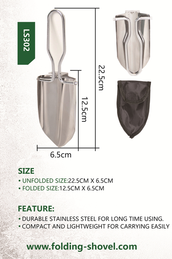 Folding Stainless Steel Handle Shovel Trowel Spade with Bag Camping Hiking Tool