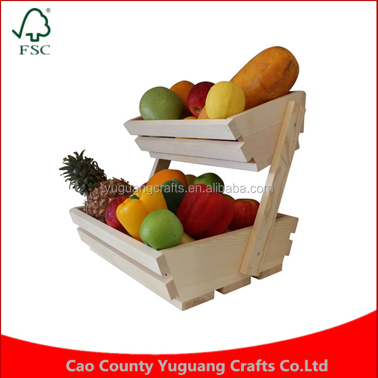 Custom Fruit Basket Stand, Premium 2 Tier Display Rack For Fruits And Vegetables Wood Crate