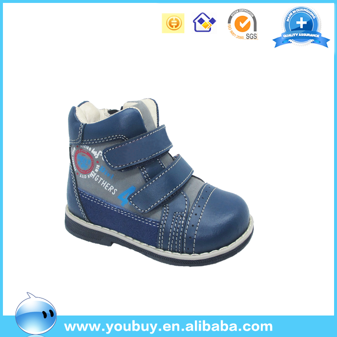 Navy bule kid orthopedic footwear kids leather shoes for kids 2-5years olds