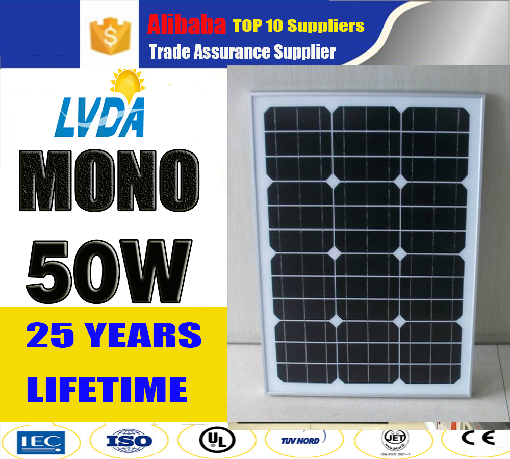 2017 Newest Product Hot Sale High Efficiency mono or poly PV 50w cheap solar panel in Singapore market