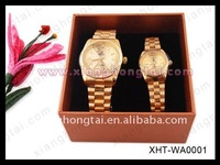 hot-sale luxury satinless steel couple gold watch