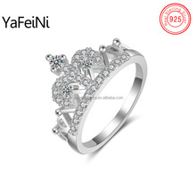 New arrival diamond crown engagement ring for Dubai wedding party ,925 sterling silver engraved crown ring