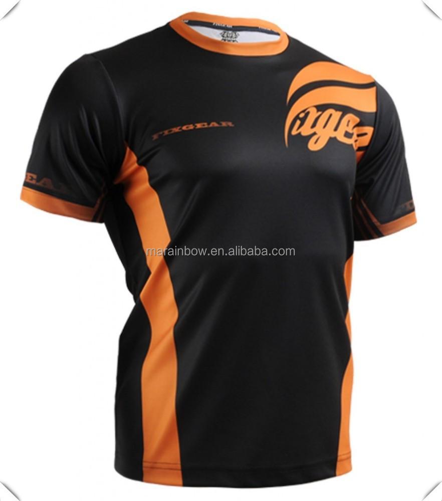 Custom made mens dry fit sports t shirts black orange for Custom made sport shirts