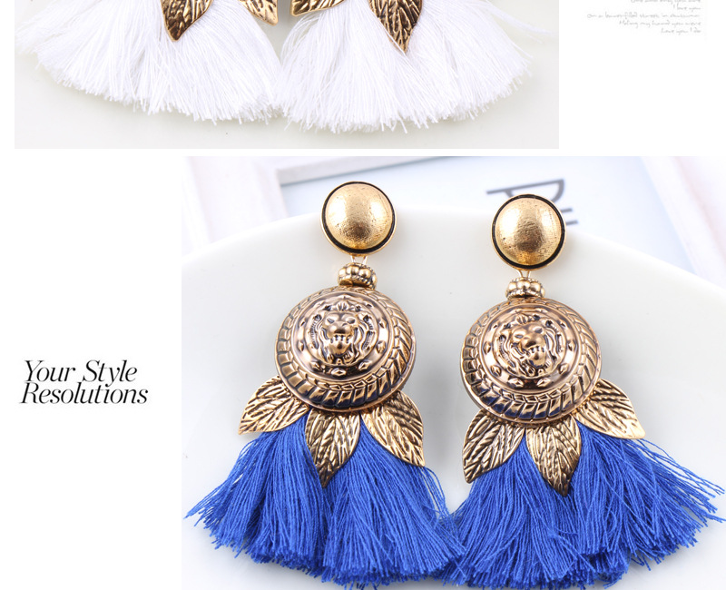 Dvacaman 2017fashion design individualized exaggerated alloy antique brass large meatball tassel earrings statement jewelry
