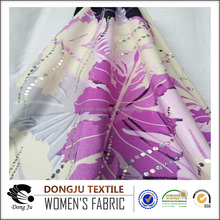 2017 DongJu Textile FDY Jersey Dyed Flocking Polyester Metallic sequins flower print fabric