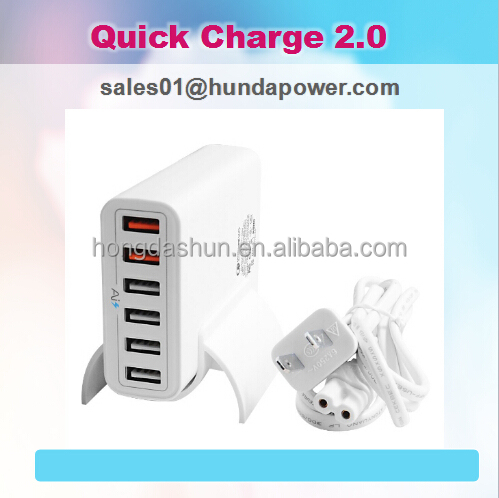 Quick Charge 2.0 Qualcomm Certified mobile phone battery charger 60W 6 Port USB power for iphone 6