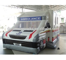 Inflatable ambulance moonwalk, ambulance inflatable bouncy for sale