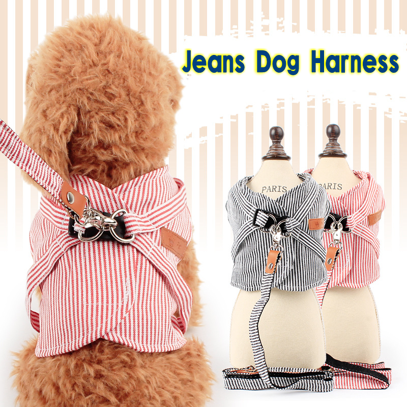 Fashion Stripe Jeans Dog Harness Dog Leashes Pet Products Dogs Wholesale