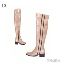 Pink patent leather thigh high boots trendy over knee block heel boots wellington boots