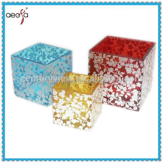 "3"" 4"" 5"" wholesale decal decorative hot sale square rectangular glass vase"