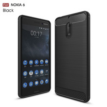 High quality dust proof carbon fiber tpu mobile phone back cover case for Nokia 6