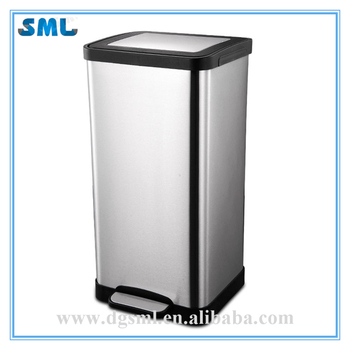 Fingerprint Resistant Stainless Steel Foot Pedal Hotel/Room/Club/Office 15L Trash Can With Bucket