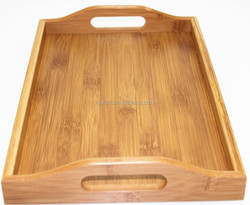 Easy to Use Outdoors All Natural Teak Barware Bamboo Wooden Tea Fruit Handle Serving Tray