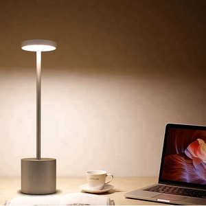 Creative decorative cordless rechargeable silver LED table lamps for restaurant hotel and bar