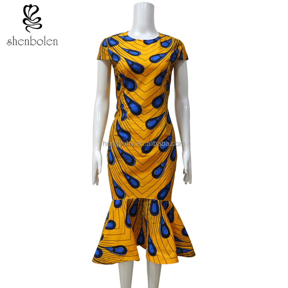 African dresses for women wax print dress kitenge designs from dongguan clothing supplier