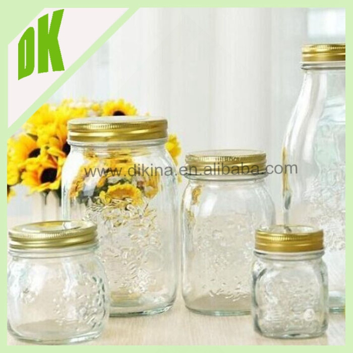 Glass Mason jar with metal lid but without handle + manufacturer wholesale large selection of 500ml mason jar drinking glass