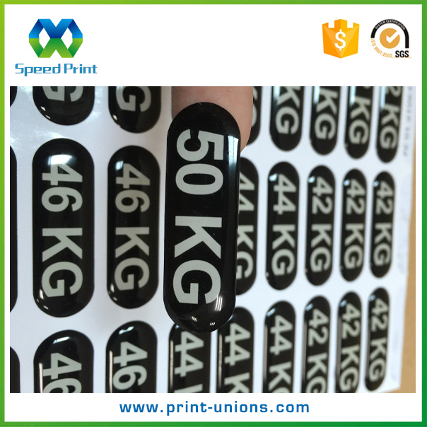 Custom weight printed transparent number printing 3d epoxy sticker