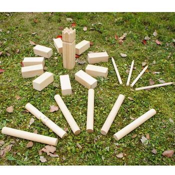 Wooden toy kubb game set 21pcs Yard Toss Fun