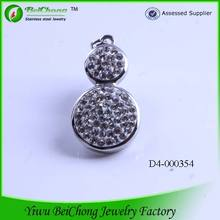 2014 latest fashion popular silver crystal Stainless Steel Gourd Plant Pendant Necklace D4-0248
