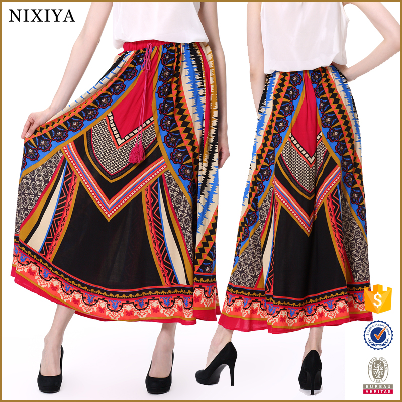 2015 OEM women's Multi Color Ethnic Print Boho Maxi Skirt, Pictures of Long Skirts for woman