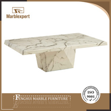 Latest design snow white paper marble high end coffee table modern