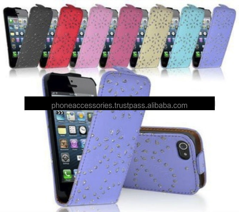 Gloss and Shiny Diamond Flip Leather case for iPhone 6, iPhone 5 and iPhone 4 and for Samsung S5 and Note 3