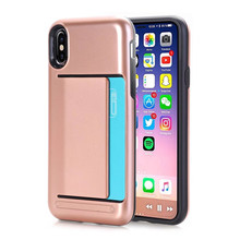 Hot Selling Products Brushed Armor Credit Card Slot Holder Case cover cell phone case For iPhone X