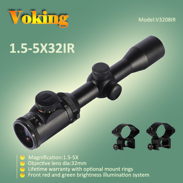 1.5x-5x 32 red and green reticle Shotgun 30mm Scope
