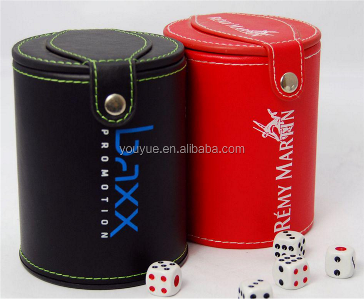 Personalized Leather Dice Cup and Dice Tray with custom logo