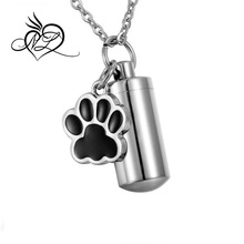Pet Dog Paw Charm & Cylinder Memorial Urn Necklace Stainless Steel Cremation Jewelry