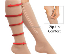 Adult Open Toe Sports Knee High Zip UP Compression Socks Made in China