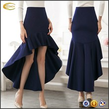 Ecoach Wholesale OEM High Quality Elegant Women High Waist high low Ruffle Hem Maxi <strong>skirts</strong> Cotton Blends Formal <strong>Skirts</strong>