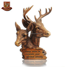 Artificial couple deer furnishing articles moose head decoration resin moose head
