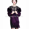 CX-B-P-18C Big Collar Genuine Fox Fur Trim Cashmere Scarf Shawls