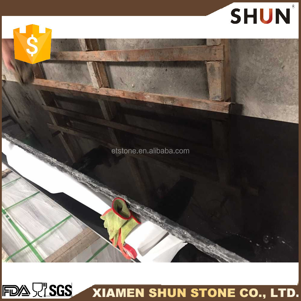 Top quality polished surface black granite slab in wide size range,natural granite raw block
