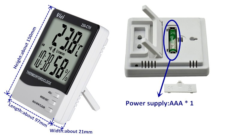 230-CTH large LCD display temperature humidity meter
