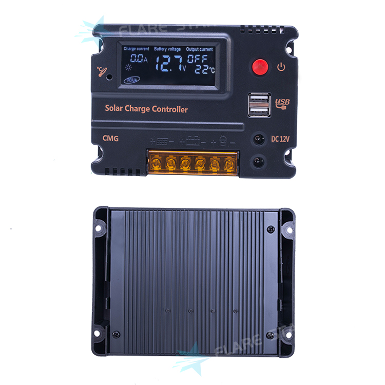 low heat protection micro 12V/24V Solar Panel Power Controller With LCD Display Dual USB Port, PWM Regulator CMG Model