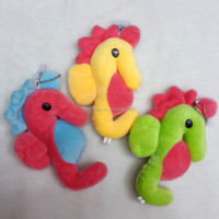 Little colorful seahorse plush animal keychain
