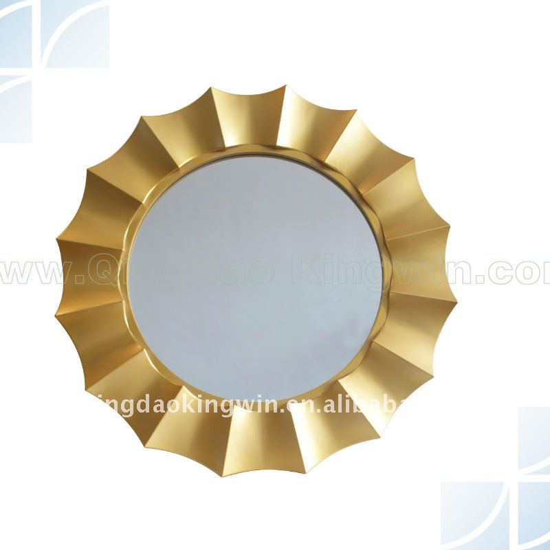 Gold Flower Shaped Wall Mirror, crafted of PVC Injection