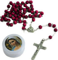 Wood Rosary and Metal Cross - 20 Inches