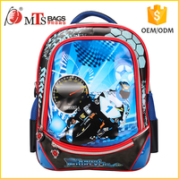 "Top quality ODM Polyester material Digital Printing craft motorcycle 16"" child school bag backpack with cross shoulder straps"