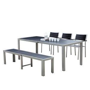 Outdoor Black Poly Wood Long Table Bench Chair Brushed Aluminum Dinning Set