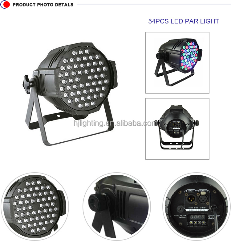 led par 54*3w dmx sound control 5in1 rgbwa flat par stage lighting for dj disco equipment